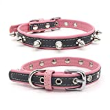 Handfly Reflective Adjustable Leather Dog Collar for small medium Dogs,Dog Reflective Safety Collar,Dog Leather Collar Red Pink Black XS-L