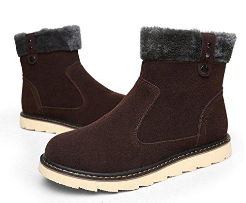 WZGLes nouvelles couleurs solides, plus velours chaud bottes hommes haut-dessus des bottes occasionnels modèles bottes de neige hiver antidérapantes Dark Brown