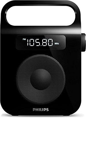 Philips AE2600B Radio FM portable avec enceinte et horloge intégrées, prise casque, grand écran LCD, grande poignée, batterie ou piles, Noir