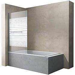Sogood paroi de baignoire 90 x 140 cm pare baignoire 1 volet verre trempé 6mm transparent avec bandes opaques Cortona1122