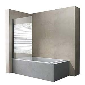 Sogood BxH: 90x140 cm Design Duschabtrennung Cortona1122,Badewannenaufsatz, 6mm ESG-Sicherheitsglas teilsatiniert, inkl. Nanobeschichtung, Badewannenfaltwand