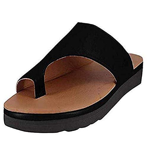 PerfectWalk Orthopedic Premium Toe Corrector Sandals Bunion Splints,Damen Big Toe Hallux Valgus Unterstützung Plattform Sandale Schuhe Für Die Behandlung (38, Black) (Hammerzeh Behandlung)