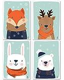 Love & Smile | 4er Set Poster Kinderzimmer Deko Mädchen Jungen | DIN A4 Bilder ohne Rahmen | Kinderposter Babyzimmer | Bild Kunstdruck Waldtiere (Fuchs, REH, Hase, Bär)