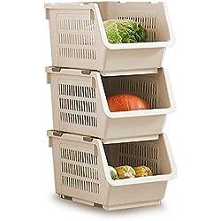 Lagerung Stapelkorb 3er Set,entnehmbare Regale Kunststoff-Lagerregal Ständer stapeln Stapelbare Korb große Stapel Lagerung Körbe für Gemüse Obst Lebensmittel Ablagekorb Rack Organizer (weiß)