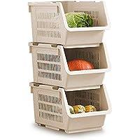 Cesta de apilamiento de almacenamiento Juego de 3 estantes de plástico apilable Rack de almacenamiento Apilamiento de la cesta apilable Grandes cestas de almacenamiento de apilamiento (blanco)