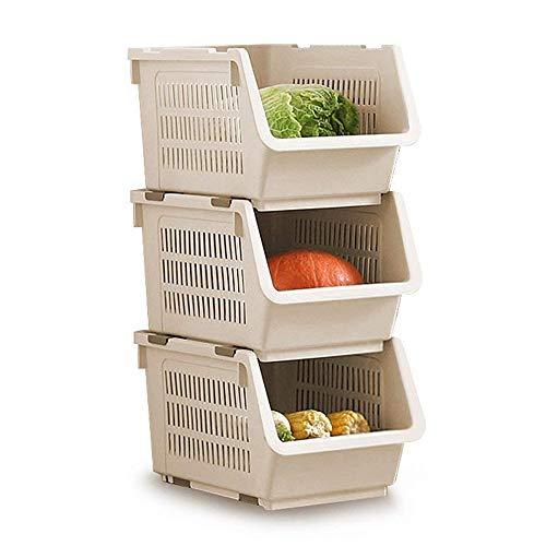 Lagerung Stapelkorb 3er Set,entnehmbare Regale Kunststoff-Lagerregal Ständer stapeln Stapelbare Korb große Stapel Lagerung Körbe für Gemüse Obst Lebensmittel Ablagekorb Rack Organizer (Beige) -