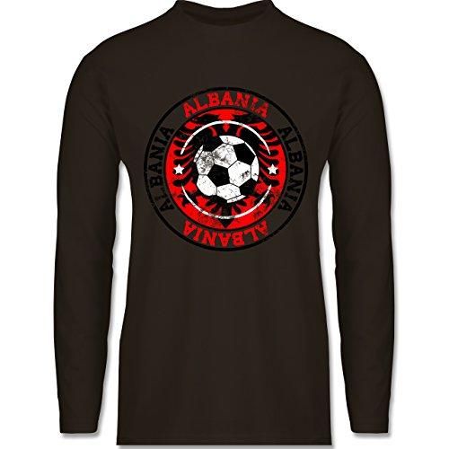 EM 2016 - Frankreich - Albania Kreis & Fußball Vintage - Longsleeve / langärmeliges T-Shirt für Herren Braun