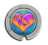 Taschenaufhänger mit Herzmotiv, faltbar, Glasmuster