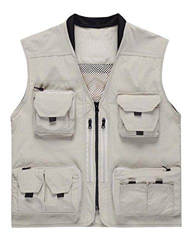 YCHENG Herren Outdoor Multi-Tasche Angeln Jagd Weste Jacke mit Reißverschluss Weiß 3XL