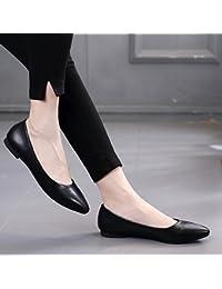 GAOLIM Embout avec une base plate, Single Chaussures Souple confortable Nœud papillon Plat Peinture avec Oeuf Rouleaux Femme Chaussures grands chiffres 41–45, The Red, 36