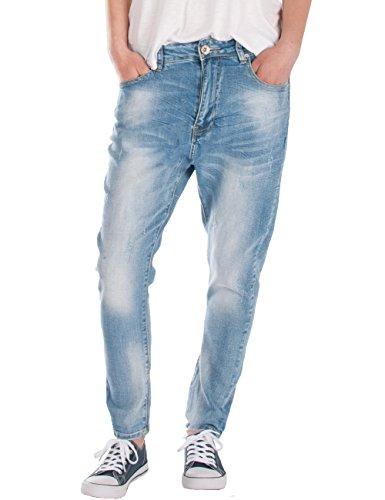Fraternel Damen Jeans Hose Boyfriend Baggy Used Relaxed fit Hellblau L / 40 - W33 Damen Baggy Jeans