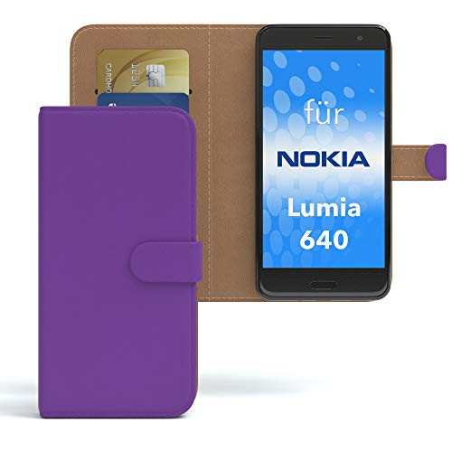 EAZY CASE Hülle für Nokia Lumia 640 Dual SIM Bookstyle mit Standfunktion, Book-Style Case aufklappbar, Schutzhülle, Flipcase, Flipstyle, Flipcover mit 2 Kartenfächern aus Kunstleder, Lila