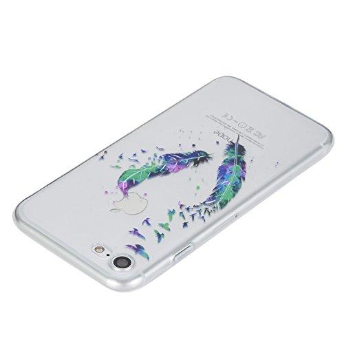 iPhone 7 Coque, Aeeque Fleurs de Dentelle Blanc Dessin Transparent Crystal Silicone Doux TPU Protection Contre les Chutes Case Cover Housse Etui pour iPhone 7 4.7 pouce Motif #18