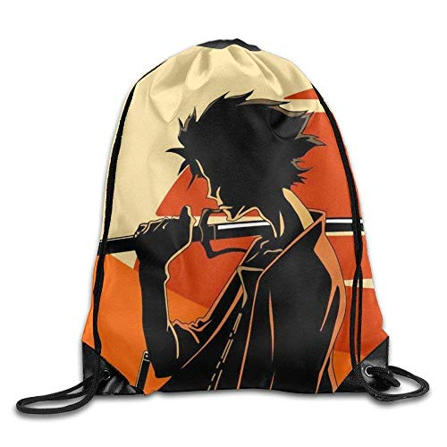 OQUYCZ Samurai Champloo Sunset Drawstring Bag, Drawstring Backpack, Sport Bag, Gymsack, Sackpack, Shoulder Bags for Men Women Teenager Juvenile Adolescent, Size: 17 Inch X 14 Inch