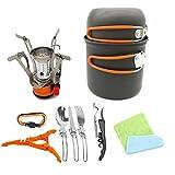 YPJKHL Outdoor 1-2 Person Portable Camping Set Pot Senderismo Mochila Utensilios de Cocina-Orange