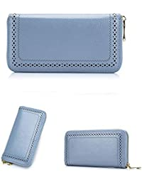 Cindie Women'S Genuine Leather Wallet Soft Purse Case Long Organizer Wallet Zippered Arround Clutch Card Holder...