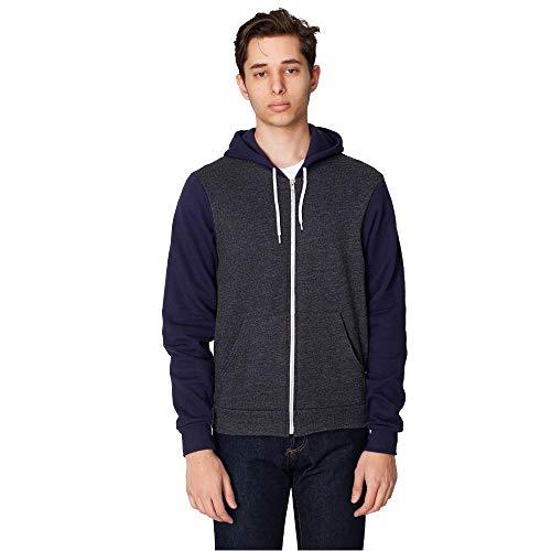 American Apparel - Unisex Flex Fleece Zip Hoodie / dark heather grey/navy, XXL Zip Damen Fleece