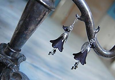 Boucles d'oreilles fleurs noirs avec petits cristaux Swarovski Elements, bijoux gothique/féerique/dark mori/elfique/strega/sorcière du forêt/Reine du Nuit/elfe noir/vampir/païen