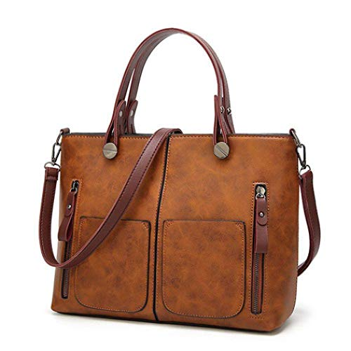 Zuionk Frauen Retro Mode Weiche Kunstleder Schultertasche Messenger Bag Einkaufstaschen
