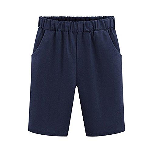 OCHENTA Mujeres Casual Elástica Cintura Rodilla Bermudas Pantalones cortos Azul oscuro ES 2XL