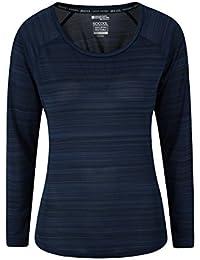 Mountain Warehouse Endurance Tapa de Las Mujeres rayadas - te de Las Señoras de la Protección UPF30, Camiseta Anti-bacteriana del Verano, Peso Ligero Azul 42