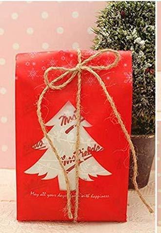 Caomoa Sac d'emballage de bonbons de 50 pièces/cadeau de Noël, sac de poche Sacs de cadeau en plastique Décoration pour Noël rouge/vert (9.5 x 20 x 6.7 cm) - Joyeux Noël!