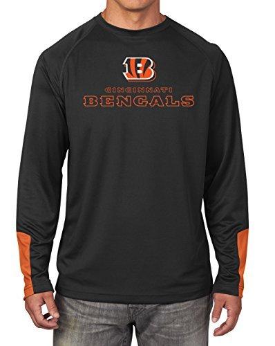 Majestic Athletic Cincinnati Bengals NFL Herren Schneiden Durch Synthetik Lange Sleeve Tee Schwarz, Mädchen Damen Jungen Unisex-Erwachsene Herren, Schwarz, Small -