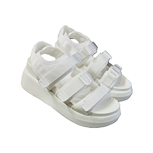 Sandali scarpe estive parte inferiore spessa velcro sandali romani doppio fondo pattini dell'allievo White