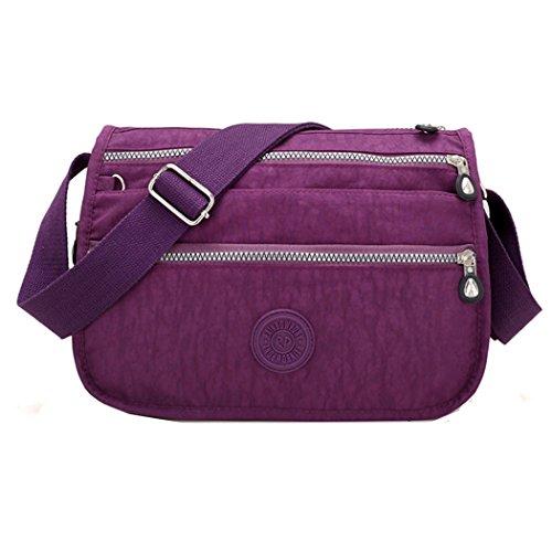 sportliche Tasche Damentasche Handtasche / Schultertasche / Umhängetasche aus Nylon klein (Lila) (Handtasche Nylon Sportliche)