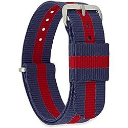 MOMENTO Bracelet de Montre pour Homme et Femme NATO Nylon Tissu avec Boucle en Acier Inoxydable en Argent et Tissu en Bleu Rouge 20mm
