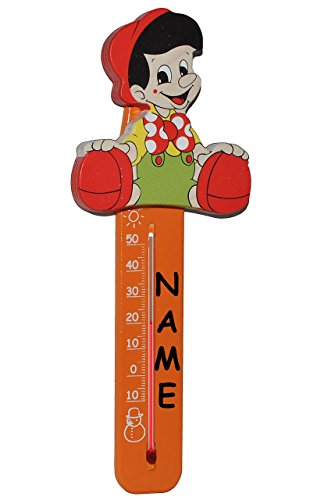 Zimmerthermometer / Innen & Außen - Hängethermometer - Pinocchio - kleiner Junge - incl. Name - aus Holz - Kinderthermometer für Kinder - Wandthermometer / Kinderzimmer - Wärme Kälte - Temperaturmessgerät - Holzthermometer - Analog Baby & Kind - Babys / Raumthermometer - Märchen Figur - Thermometer