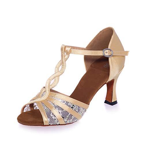 ZM-Shoes Scarpe Da Ballo Latino Da Donna Fibbia Con Cinturino A T Sandali Con Tacco Alto Maglia Di Traspirante Antiscivolo Standard Sala Da Ballo Scarpe,D'oro,34