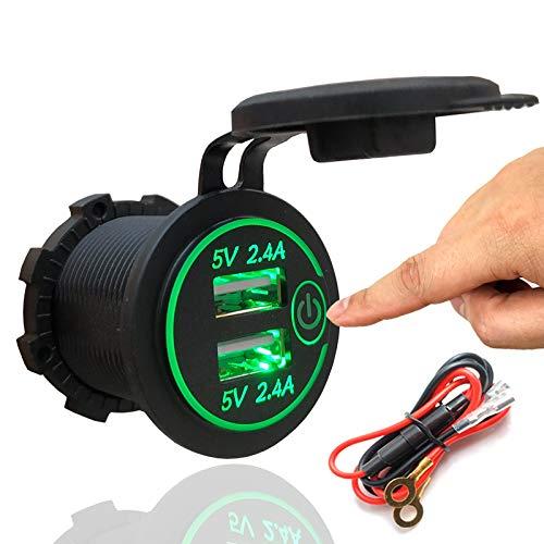 HOSOTO - Doppia Presa USB 4.2A per Caricatore 12 V/24 V, Impermeabile, con Interruttore Touch per Auto, Barca, Moto, Kit Fai da T