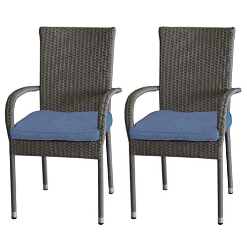 2 Stück Rattanstuhl, Stahlgestell beschichtet, Polyrattanbespannung Grau-meliert, platzsparend stapelbar inkl. Sitzkissen Indigo, UV- & Wasserbeständig -