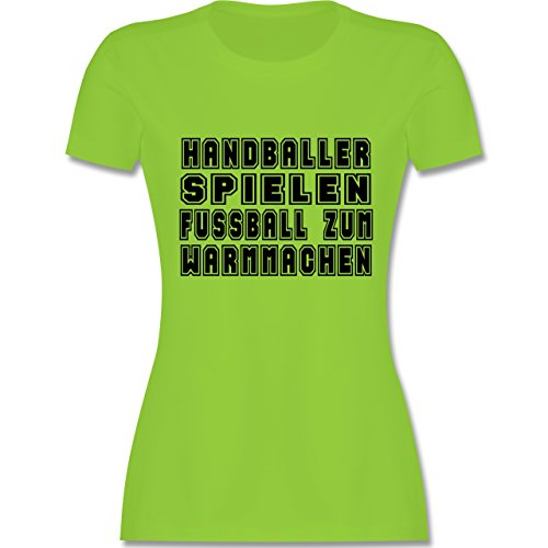 Handball - Handballer Spielen Fußball Zum Warmmachen - tailliertes Premium T-Shirt mit Rundhalsausschnitt für Damen Hellgrün