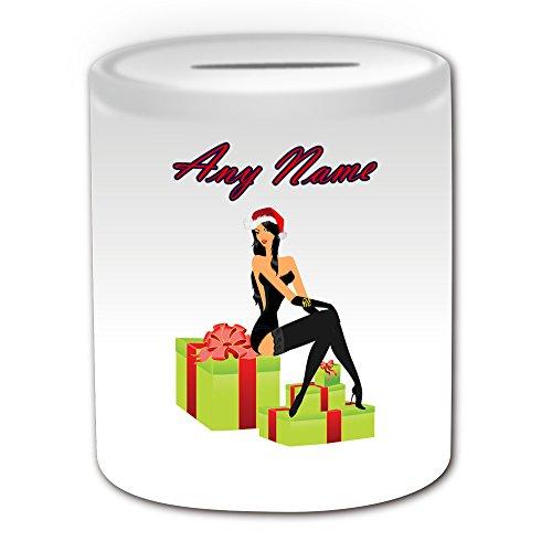 Personalisiertes Geschenk–Hot Xmas Mädchen auf Geschenk Box Spardose (Sexy Lady Design Thema, weiß)–alle Nachricht/Name auf Ihre einzigartige–Schwarz Babydoll Weihnachtsstrumpf Fancy Kleid Kostüm