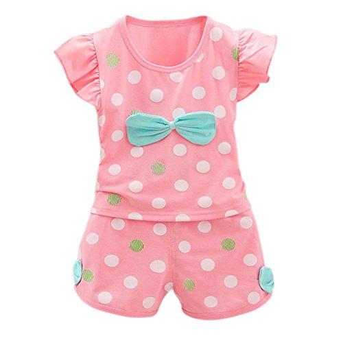 Baby Mädchen Sommer Kleidung Set 2018 Hot 2 Stück Ruffle Sleeve Dot Printed Shirt und kurze Hose Outfit Anzug für 0-4 Jahre alt
