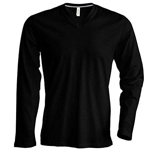 Kariban - Herren Langarmshirt mit V-Ausschnitt bis Größe 4XL / Black, XL