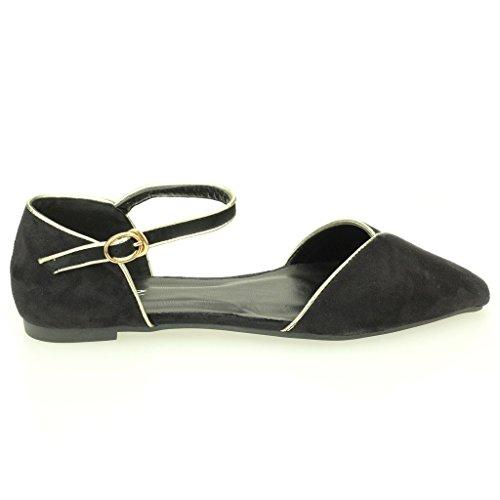 Frau Damen Abend Casual Komfort Ballerinas Sandale Pumpe Gericht Schuhe Größe (Schwarz, Beige) Schwarz