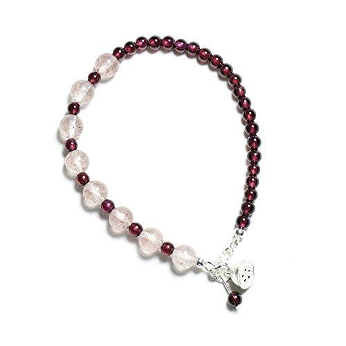 JunBo Damen Wein Rote Erdbeere Kristall Granat Rekrut Pfirsich Kristall Armband