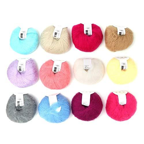 Heepdd 26g / roll gomitoli mohair, filato per maglieria lungo in lana con un uncinetto per gli indumenti sciarpe maglione scialle cappelli e progetti artigianali(12 colori a set)