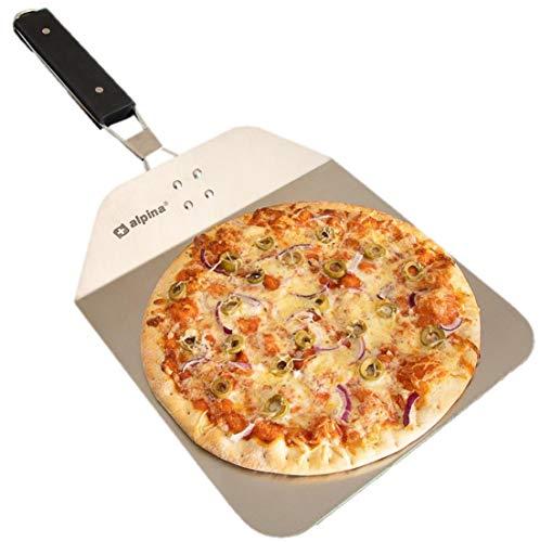Alpina Pizzaschieber für den Ofen, Pizzaschaufel mit praktischen Einklapp-Griff zum einfachen Verstauen, im Set mit Pizzaschneider