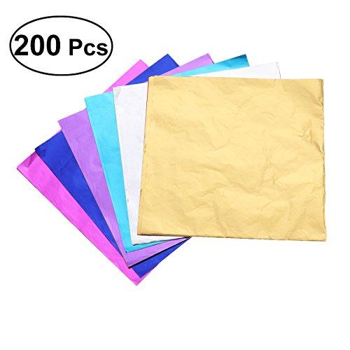 BESTONZON 200 stücke Aluminiumfolie Papier Geschenkpapier Verpackung für Schokolade Süßigkeiten Bad Bomben (Mischfarbe) (Schokolade, Papier Verpackung,)