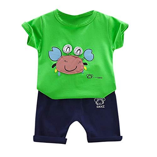 Zylione Jungen Kleidung Set Kinder Baby Kurzarm Baumwolle Krabben Print Kurzarm + Volltonfarbe Shorts Anzug