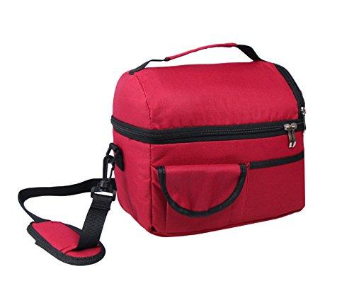 Elonglin - borsa termica portatile, isotermica, in tessuto oxford, impermeabile, grande capienza, da picnic, campeggio, viaggio, sport, scuola, lavoro, maternità rouge vineux