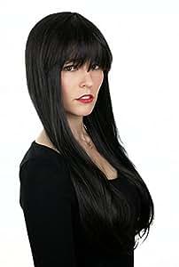 Prettyland C864 - BOB frange droite lisses 75 cm de long perruque de cheveux - noir naturel