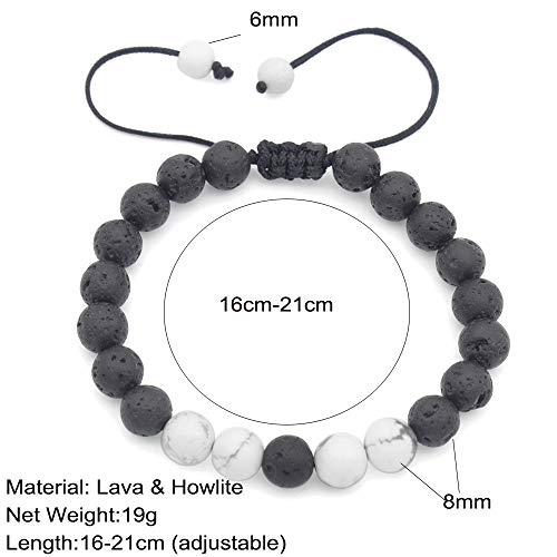 DZSF wasserdichte 8Mm natürliche weiße Kiefer Vulkangestein kann angepasst Perlen Armbänder für Männer Frauen mit Schmuck-Box,A -