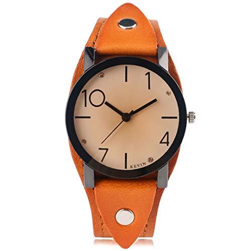 Rot Uhren Damenmode Uhr Quarz Leder Armbanduhr Mode Elegante Mode Vintage LäSsig Kristall Femme Hour Orange