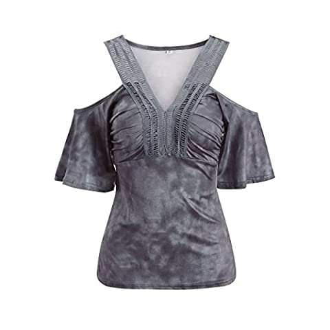 Women Casual V Neck Cold Shoulder Short Sleeve Tie-Dyed Tunic Tee Top
