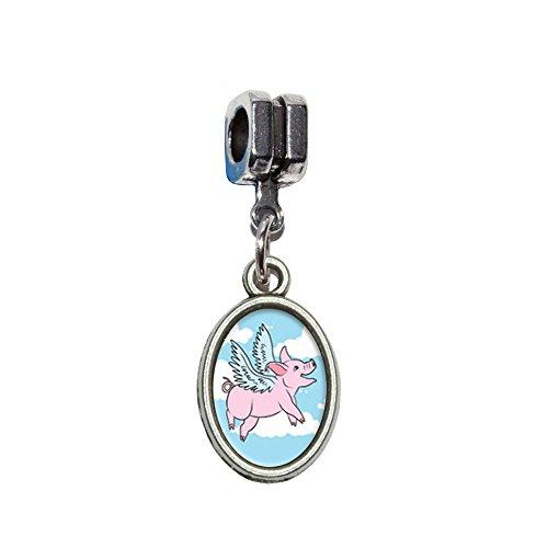 Schweine fliegen Italienisches europäischen Euro-Stil Armband Charm Bead–für Pandora, Biagi, Troll,, Chamilla,, andere (Schwein Ohr Kostüm)